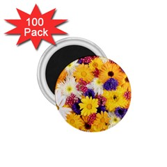 Colorful Flowers Pattern 1 75  Magnets (100 Pack)