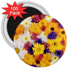 Colorful Flowers Pattern 3  Magnets (100 Pack)