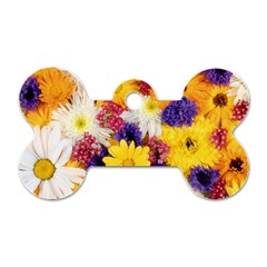 Colorful Flowers Pattern Dog Tag Bone (two Sides)