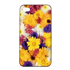 Colorful Flowers Pattern Apple Iphone 4/4s Seamless Case (black)