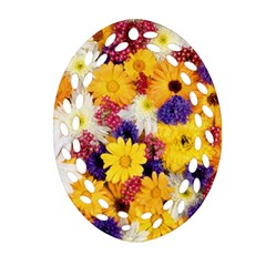 Colorful Flowers Pattern Oval Filigree Ornament (two Sides)