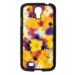 Colorful Flowers Pattern Samsung Galaxy S4 I9500/ I9505 Case (black) by BangZart