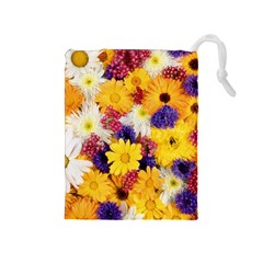Colorful Flowers Pattern Drawstring Pouches (medium)  by BangZart