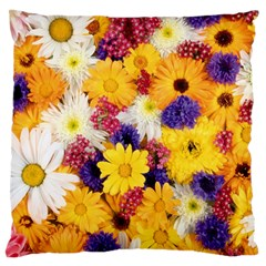 Colorful Flowers Pattern Standard Flano Cushion Case (one Side)