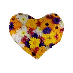 Colorful Flowers Pattern Standard 16  Premium Flano Heart Shape Cushions