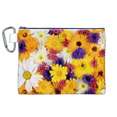 Colorful Flowers Pattern Canvas Cosmetic Bag (xl) by BangZart