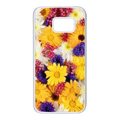 Colorful Flowers Pattern Samsung Galaxy S7 White Seamless Case