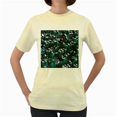 Old Spiderwebs On An Abstract Glass Women s Yellow T Shirt