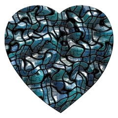 Old Spiderwebs On An Abstract Glass Jigsaw Puzzle (heart) by BangZart