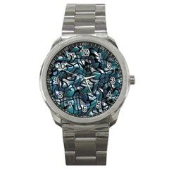 Old Spiderwebs On An Abstract Glass Sport Metal Watch