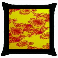 Floral Fractal Pattern Throw Pillow Case (black)