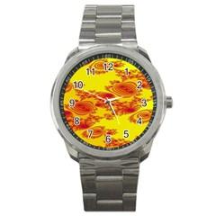 Floral Fractal Pattern Sport Metal Watch by BangZart