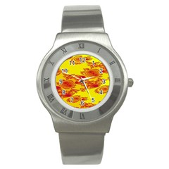Floral Fractal Pattern Stainless Steel Watch