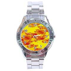 Floral Fractal Pattern Stainless Steel Analogue Watch