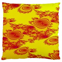 Floral Fractal Pattern Large Flano Cushion Case (two Sides)