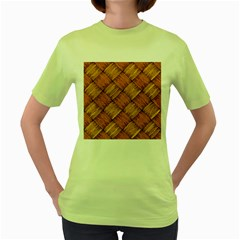 Vector Square Texture Pattern Women s Green T Shirt by BangZart