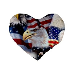 United States Of America Images Independence Day Standard 16  Premium Flano Heart Shape Cushions