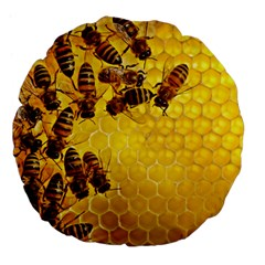Honey Honeycomb Large 18  Premium Flano Round Cushions