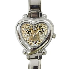 Leopard Face Heart Italian Charm Watch