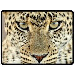 Leopard Face Double Sided Fleece Blanket (large)  by BangZart