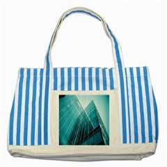 Glass Bulding Striped Blue Tote Bag