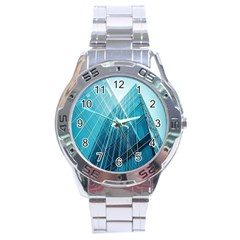 Glass Bulding Stainless Steel Analogue Watch