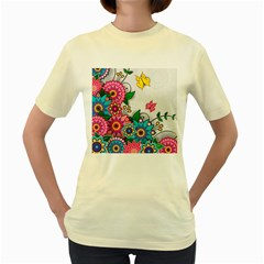 Flowers Pattern Vector Art Women s Yellow T Shirt