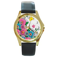 Flowers Pattern Vector Art Round Gold Metal Watch