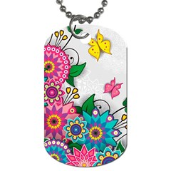 Flowers Pattern Vector Art Dog Tag (two Sides)