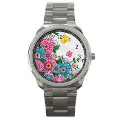 Flowers Pattern Vector Art Sport Metal Watch