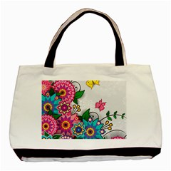 Flowers Pattern Vector Art Basic Tote Bag by BangZart