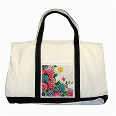 Flowers Pattern Vector Art Two Tone Tote Bag