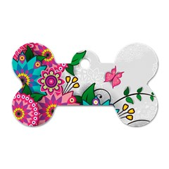Flowers Pattern Vector Art Dog Tag Bone (two Sides)