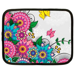 Flowers Pattern Vector Art Netbook Case (large)