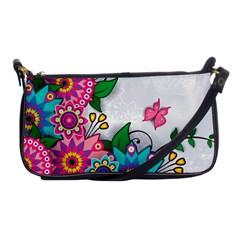 Flowers Pattern Vector Art Shoulder Clutch Bags by BangZart