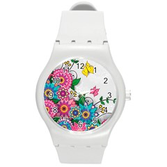 Flowers Pattern Vector Art Round Plastic Sport Watch (m)