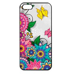 Flowers Pattern Vector Art Apple Iphone 5 Seamless Case (black)