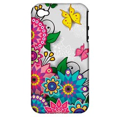 Flowers Pattern Vector Art Apple Iphone 4/4s Hardshell Case (pc+silicone)