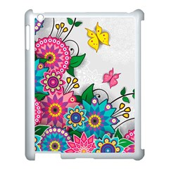 Flowers Pattern Vector Art Apple Ipad 3/4 Case (white)