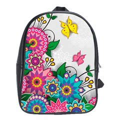 Flowers Pattern Vector Art School Bags (xl)