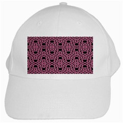 Triangle Knot Pink And Black Fabric White Cap