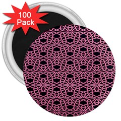Triangle Knot Pink And Black Fabric 3  Magnets (100 Pack)