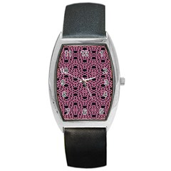 Triangle Knot Pink And Black Fabric Barrel Style Metal Watch