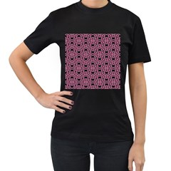 Triangle Knot Pink And Black Fabric Women s T Shirt (black) (two Sided)