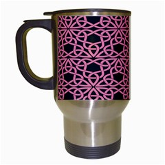 Triangle Knot Pink And Black Fabric Travel Mugs (white)