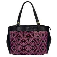 Triangle Knot Pink And Black Fabric Office Handbags