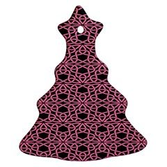 Triangle Knot Pink And Black Fabric Christmas Tree Ornament (two Sides)