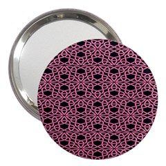 Triangle Knot Pink And Black Fabric 3  Handbag Mirrors by BangZart