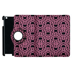 Triangle Knot Pink And Black Fabric Apple Ipad 3/4 Flip 360 Case