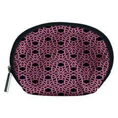 Triangle Knot Pink And Black Fabric Accessory Pouches (medium)